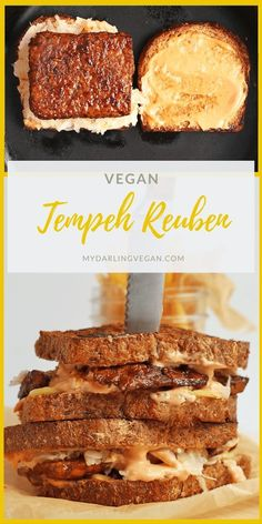 This Vegan Tempeh Reuben is made with marinated and grilled tempeh, homemade Russian Dressing, and seeded rye bread for a classic sandwich. #mydarlingvegan #veganreuben #vegansandwich #vegantempehreuben #veganrussiandressing Vegetarian Sandwich Recipes, Vegan Dinner Recipes, Delicious Vegan Recipes, Vegan Dinners, Vegan Vegetarian, Whole Food Recipes, Going Vegetarian, Vegetarian Breakfast, Vegan Food