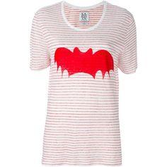 Zoe Karssen Batman Print T-Shirt (140 AUD) ❤ liked on Polyvore featuring tops, t-shirts, white, white tee, zoe karssen t-shirt, white t shirt, white top and print tees