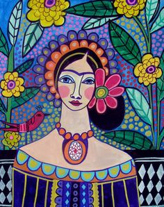 6x8 Frida Kahlo Art Print Mexican Folk Art Panel READY TO HANG 6x8 print