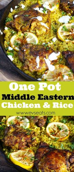 easy one pot meals A flavorful Middle Eastern Chicken made with seasoned turmeric rice all in one pot! Fuss free this middle eastern chicken is super easy to make. Middle Eastern Chicken, Middle Eastern Dishes, Middle Eastern Recipes, Lebanese Recipes, Greek Recipes, Indian Food Recipes, Ethnic Recipes, Mexican Recipes, Vietnamese Recipes