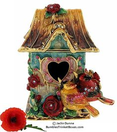 Trinket Box: Birdhouse With Two Cardinals