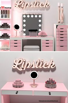 DIY Makeup Room Ideas With Design Inspiration, Organizer & Picture Pink Drawers, Rangement Makeup, Ikea Alex Drawers, Vanity Room, Ikea Vanity, Makeup Store, Glam Room, Room Goals, Makeup Rooms