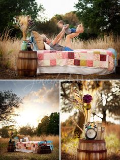 Outdoor bed setup. Love the warmth in color tones and the barrel! Outdoor Photo Props, Fall Photo Props, Outdoor Photos, Mini Session Themes, Fall Mini Sessions, Photography Mini Sessions, Photo Sessions, Couple Photography, Photography Tips