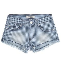 Show off those legs in these high-waisted plaid denim shorts. These are perfect for those super hot days. Fringed hem and five pockets with curvy dark stitching on the back pockets!