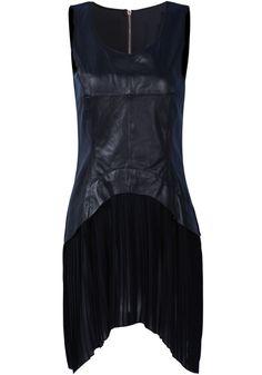 Black Sleeveless Contrast Leather Pleated Dress