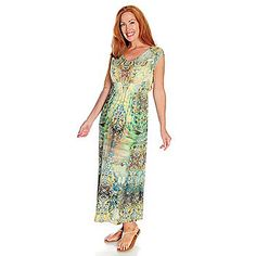 One World Dress- Sleeveless Beaded Printed Maxi - Womens Long Maxi ...