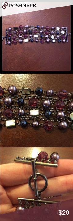 Lia Sophia Bracelet Toggle clasp bracelet with rows of gems. Very feminine and fancy. Lia Sophia Jewelry Bracelets