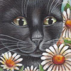 Black Cat & Daisies - Mini Painting