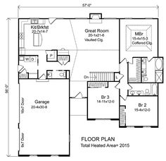 First Floor Plan of Ranch   House Plan 49037