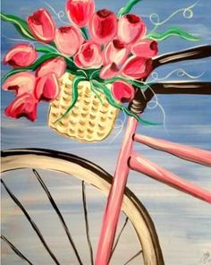 Spring Ride, bicycle tulip basket painting for beginners.