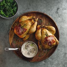 POUSSINS WITH A MUSTARD MUSHROOM SAUCE