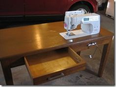 I love how they drilled a hole for the knee lift on this DIY sewing table from a. I love how they drilled a hole for the knee lift on this DIY sewing table from a thrift store desk. They even were able to keep the left side drawer intact. Sewing Room Furniture, Sewing Rooms, Sewing Room Organization, Craft Room Storage, Craft Rooms, Sewing Craft Table, Sewing Machine Tables, Sewing Tables, Antique Sewing Machines