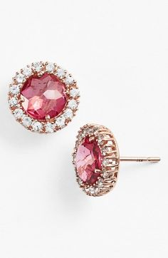 KALAN by Suzanne Kalan Post Earrings - Set in Rose Gold - Pink Topaz - White Sapphire  available at #Nordstrom