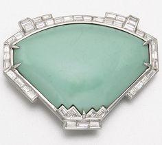 PLATINUM, TURQUOISE AND DIAMOND CLIP-BROOCH, CIRCA 1935