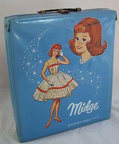 Vintage Midge Doll Blue Vinyl Trunk Carry Case Wardrobe 1964 Lunch Date Barbie
