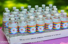 Rainbow Party - Water Bottle Labels - {DIY Printables}    TheDigiButterfly.com  TheDigiButterflyPRTY.etsy.com