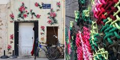Raquel Rodrigo usa seus bordados gigantes para decorar edifícios em Madrid - IdeaFixa