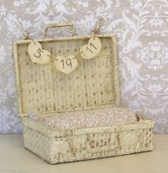 Baby Infant Photo Prop Basket Trunk With Personalized Sign Rustic Shabby Chic on Etsy, $45.00