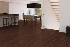Dark Brown Tiger Wood Floor Combined With White Painted Wall And ...