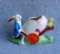 Easter Bunny Rabbit Pushing Egg Cart With Chick by Kissisjustakiss