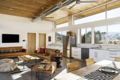 Architect Jeremy Levine's sustainable home, theCowboy Modern Desert Eco-Retreat, is stylish, contemporary and entirely off grid in the California desert Exterior Siding, Interior And Exterior, Interior Design, Penny Round Tiles, Fire Table, Sustainable Living, All Modern, Living Area, Deserts