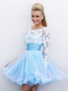 Scoop Neck Tulle Short/Mini Appliques Lace Long Sleeve Prom Dresses #02051626