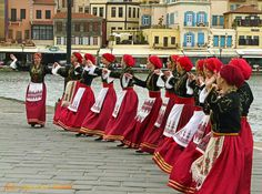 Traditional Cretan dance, port of Chania, Crete, Greece Greek Traditional Dress, Traditional Outfits, Greek Costumes, Dance Costumes, Creta Greece, Costumes Around The World, Folk Costume, Ancient Greece, Albania