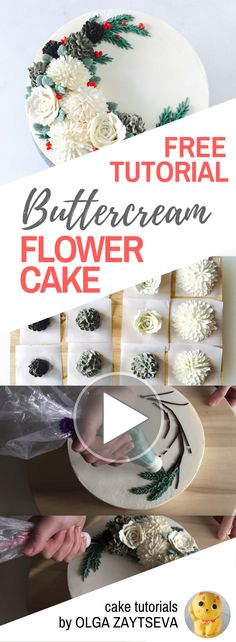 HOT CAKE TRENDS How to make Buttercream Pinecone Christmas Wreath cake - Cake decorating tutorial by Olga Zaytseva. Learn how to make buttercream pinecones, pipe chrysanthemums and roses  and create this Christmas floral wreath cake.