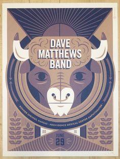 2016 Dave Matthews Band - Bonner Springs Silkscreen Concert Poster by Tad Carpenter