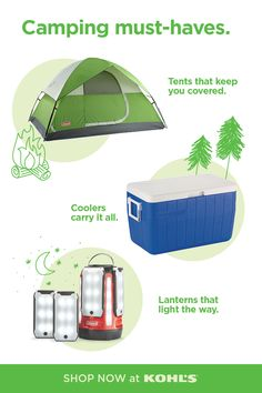 Shop camping must-haves at Kohl's and Kohls.com. Roughing it for a weekend means you have to be prepared. Find tents that fit your family and keep you covered from the elements for a good night's rest. Plus, find different-sized coolers to keep your food and beverages cold. And you definitely won't want to leave the house without a lantern to light your way at night! #camping #campingessentials Weekend Meaning, Camping Must Haves, Camping Essentials, Dutch Oven, Outdoor Cooking, Cub Scouts, Coolers, The Great Outdoors, Tents