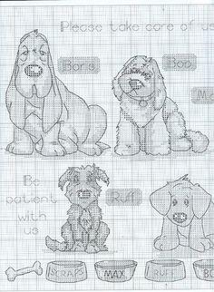 Schema punto croce Cani Insieme-2