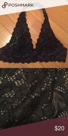 Black lace halter bra Free people black lace halter bra Free People Intimates & Sleepwear Bras