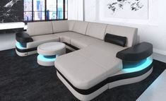 Modern Leather Sofa Tampa U Shape Design Sectional Sofa Tampa with USB Port - beige-white
