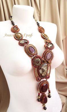 Купить Колье Принцесса Индии (рубиновый, облагороженный корунд, пирит, гранат - бордовый, рубин