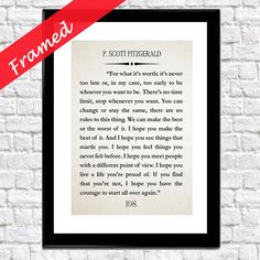 F Scott Fitzgerald For What It's Worth Framed Quote Gatsby Quote The Great Gatsby Quote Scott Fitzgerald Quote Gatsby Decor Great Gatsby Art by WallBuddy on Etsy Framed Quotes, Framed Art, Framed Prints, Vintage Images, Vintage Posters, Great Gatsby Quotes, Scott Fitzgerald Quotes, For What It's Worth, Unique Wall Art