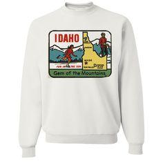 Vintage State Sticker Idaho Crewneck Sweatshirt