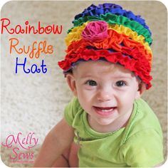 Rainbow Ruffle Hat - Melly Sews Rainbow Theme, Rainbow Colors, Diy Hat, Diaper Covers, Kids Hats, Baby Sewing, Hair Band, Gifts For Kids, First Birthdays