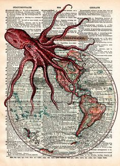 Octopus art, world map, victorian steampunk, lovecraft octopus, dictionary page art print