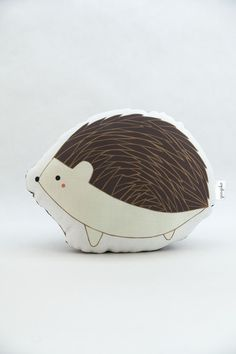 Handmade Hedgehog pillow by Gingiber; front detail view