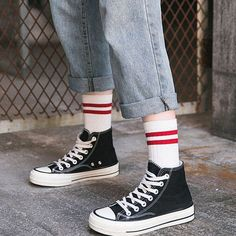 Buy Lychee Set of 4 Striped Socks YesStyle Long Socks Outfit, High Socks Outfits, Converse Outfits, Cute Outfits, Swag Style, Style Casual, Moda Sneakers, Sneakers Mode, White Sneakers