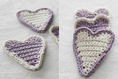 Hearts in crochet. Tutorial in Swedish. Crochet Granny, Crochet Motif, Diy Crochet, Crochet Flowers, Crochet Toys, Crochet Patterns, Crochet Hearts, Crochet Ideas, Knitted Heart