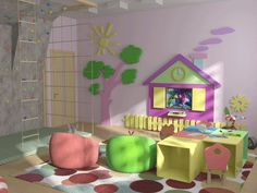 children furniture and colorful kids playroom ideas