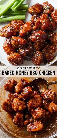 Baked Honey BBQ Poppers!! Easy, crunchy, sticky, saucy chicken poppers that are coated and baked, not fried. Recipe on sallysbakingaddiction.com