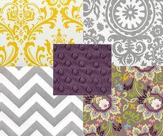Grey, yellow and purple.. nursery color idea