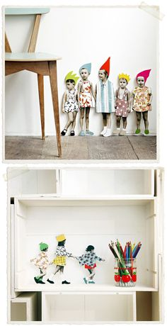"""Cardboard children to decorate your room"" - why not make your own, with own family & friends?"