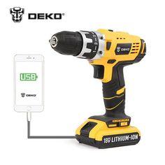 DEKO GCD18DU2 18V DC Battery, Cordless Drill/Driver Power Tool