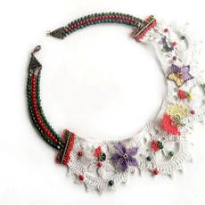 FREE SHIPPING , Vintage Style, OOAK , Needle Embroidered Collar Necklace , Vintage Needle Lace  , Jewelry , Antique  Necklace