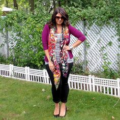 Plum cardigan / stripes / floral scarf (Stripes + flowers mixed patterns)