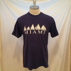 90s Miami sailboats vintage tshirt, Fruit of the Loom, Size XL, Made in USA