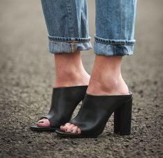 I am on the Hunt for Peep Toe Black Mules.